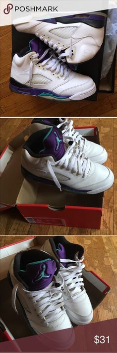 Jordan High Top grape 5's Bought from fellow posher haven't worn them as much as I thought I was. I'm not into the high top 😩 but they are in good condition. (Do not have box it came with) Jordan Shoes