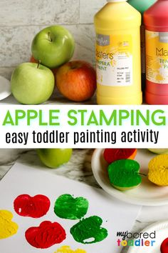 Apple Stamping for Toddlers: a great toddler painting activity - an old fashioned favorite! Toddler Painting Activities, Fall Activities For Toddlers, Apple Activities, Toddler Learning Activities, Art For Toddlers, Childcare Activities, Daycare Crafts, Preschool Crafts, Preschool Ideas