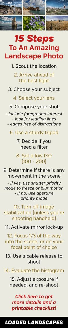 Photography tips | 15 Steps to an Amazing Landscape Photo - Landscape Photography Checklist