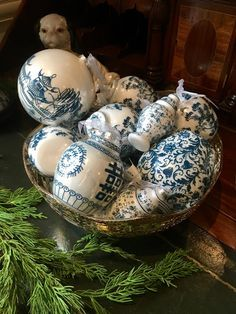 bowl filled with blue & white Chinoiserie Christmas ornaments