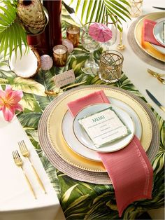 decoration de table mariage tropical