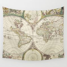 Vintage+Map+of+The+World+(1680)+Wall+Tapestry+by+BravuraMedia+-+$39.00