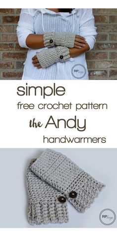 "Simple & free crochet pattern ""The Andy"" hand warmers by Rescued Paw Designs"