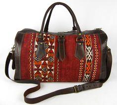 Kilim and Leather Duffle Bag Travel Bag - Large
