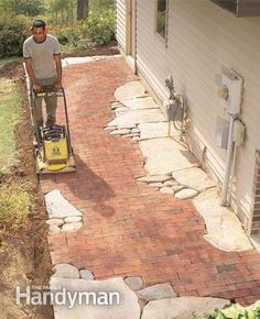 to Build Pathways: Brick and Stone Pathways How to Build Pathways: Brick and Stone Pathways. Would like it better if it was the same colorHow to Build Pathways: Brick and Stone Pathways. Would like it better if it was the same color Brick Walkway, Flagstone Patio, Brick Patios, Patio Stone, Concrete Walkway, Concrete Stone, Red Brick Pavers, Stone Backyard, Backyard Projects