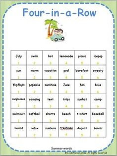 Free..Summer Fun Four-in-a-Row Vocabulary Game