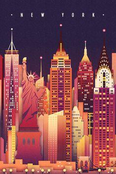 New York City, New York - Neon Skyline (Empire State Building Center) - Lantern Press Artwork