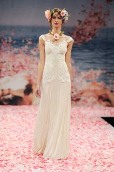 Bridal Gowns: Claire Pettibone Sheath Wedding Dress with Tip of the Shoulder Neckline and Dropped Waist Waistline