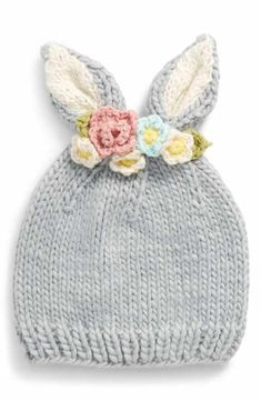 Main Image - The Blueberry Hill Floral Appliqué Bunny Hat (Baby Girls, Toddler Girls & Little Girls) # baby girl crochet hat The Blueberry Hill Floral Appliqué Bunny Hat (Baby Girls, Toddler Girls & Little Girls) Baby Hats Knitting, Knitting For Kids, Baby Knitting Patterns, Hand Knitting, Knitted Hats, Knit Headband Pattern, Knitted Headband, Baby Girl Crochet, Crochet Baby Hats