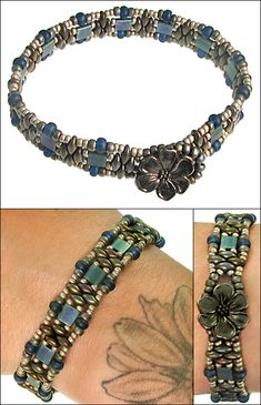 """Megan chose beautiful blue and metallic toned SuperDuos and tila beads for her own twist on Ramona's SuperDuo ...free tutorial...under """"Instructions""""."""