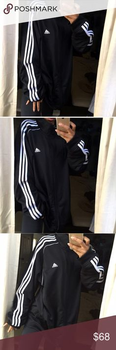 "💫 Adidas SuperStar Black Track Jacket 💫 Adidas Super Star Athletic Black Track Jacket ""The OG style Jacket""  - black, white three stripe logo on the front, white stripes down the side.  - Size xLarge. Light weight - full zip up, collared, front hand pockets. - 💯 Authentic Adidas Active wear.   - Perfect new condition - Super comfortable - NWOT - purchased from pacsun adidas Tops Sweatshirts & Hoodies"