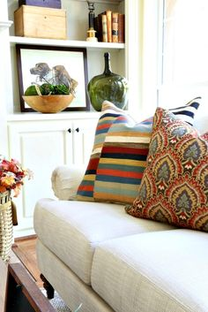 Savvy Southern Style: French country fall tour with Soft Surroundings and Romantic Homes. Cozy living room filled with texture and color for fall French Home Decor, French Country Decorating, My House Plans, Built In Bookcase, Bookcases, Savvy Southern Style, Transitional House, Red Walls, Romantic Homes