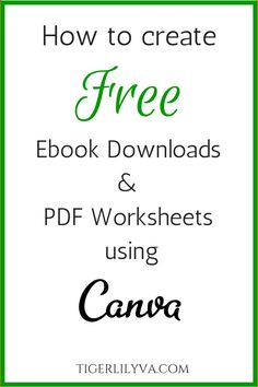 How to create free ebook downloads PDF Worksheets using Canva