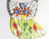 Corinna, owl mosaic stained glass for garden or plant decoration