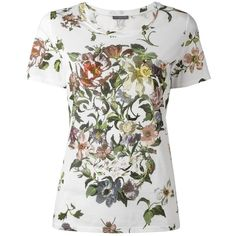 Alexander McQueen floral skull print T-shirt ($635) ❤ liked on Polyvore featuring tops, t-shirts, white, white top, cotton tee, pattern t shirt, white cotton tee and floral tee