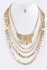 TRIBAL CUT OUT CRESCENT ACCENT LAYER NECKLACE SET