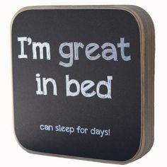 Zoedt Houten tekstblok I'm great in bed
