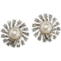 French pearl diamond platinum pinwheel earrings | From a unique collection of vintage clip-on earrings at https://www.1stdibs.com/jewelry/earrings/clip-on-earrings/