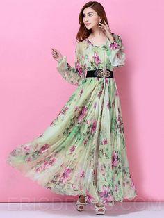 7dc9f66ad50 Ericdress Green Printed Long Sleeve Maxi Dress Maxi Dresses