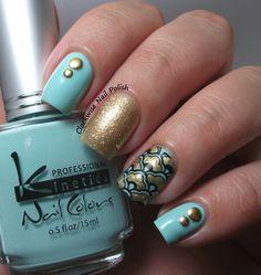 The Clockwise Nail Polish: Jade Galaxy & Kinetics KP 278 Mint Sky