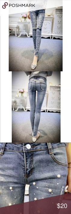 """Skinny jeans with pearl & sparkles bedazzled Beautiful skinny jeans with pearl and paillette details. It's a statement jeans for any seasonal. It's Asia brand and size so please refer to the measurements for better fitting. Lay flat measurements waist 13.5"""" leg length 36"""" inseam 28"""" waist to crotch 8"""" thigh 7"""" ankle 4.5"""" A plum Jeans Skinny"""