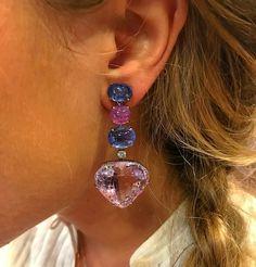 Bulgari Sapphires and Kunzite Ear-Pendants, circa 1980 #Eleuteri #VintageJewels