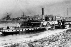 """Afbeelding van de stoomraderboot """"De Vreeswijk"""", die waarschijnlijk dienst deed als pont tussen Vreeswijk en Vianen."""