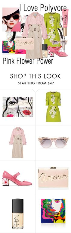 """""""Pink Trench Coat"""" by nessa-stylista ❤ liked on Polyvore featuring Oliver Gal Artist Co., Dolce&Gabbana, Prada, Jimmy Choo, BCBGMAXAZRIA, NARS Cosmetics, Olympia Le-Tan and Too Faced Cosmetics"""
