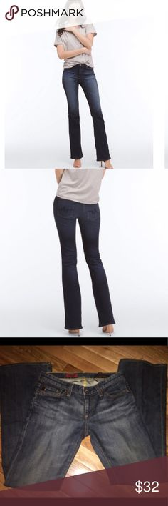 "AG Jeans ""Angel"" Bootcut AG Jeans ""Angel"" Bootcut. Size: 26R. Item Details Rendered in a broken-in blue wash, this classic bootcut jean in figure-flattering stretch denim boasts a slender fit with a subtle flare. Fits true to size. Classic boot cut.  Front Rise: 8.5"" Knee Opening: 14.5"" Bottom Opening: 19"" Inseam: 34"" Retail Price =$225.00 10oz. Sky Blue Denim, 98% Cotton, 2% Polyester AG Adriano Goldschmied Jeans Boot Cut"
