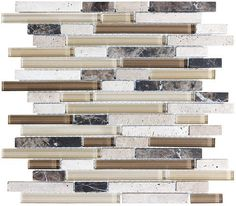 A well balanced blend of browns and cream colored glass combined with creamy travertine and emperador dark marble. A very popular choice for a kitchen backsplash. Cappucino is also available...