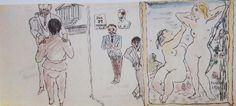 """1926 27 janvier_ Rencontre avec Philippe Berthelot Pages extraites du journal tenu par Foujita pour Youki, dit """"le journal de Youki"""", comportant 66 pages 38 x16 cm  Dessin à l'encre et aquarelle sur papier traditionnel japonais Collection particulière"""