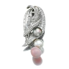 Conch pearl, natural pearl and diamond brooch