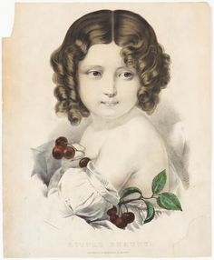 <p>Young girl looking to right in image, cluster of cherries in hand.</p>
