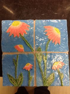 Ceramic tiles, High school ceramics II...... Have them draw and scrape out like a scratch out method. Use hollowing tools...10th 11th 12th grade... Clay, relief sculpture