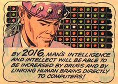 """""""Increase your intelligence in ~retro-futurism Pop Art Vintage, Vintage Space, Science Fiction, Comics Illustration, Illustrations, Comic Book Panels, World Of Tomorrow, The Future Is Now, Vintage Comics"""