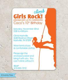 An Indoor Rock Climbing Birthday Invitation Wording Fonts And - Birthday party invitations rock climbing