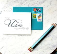 Rock Candie Designs To My Usher On My Wedding Day Stationery. Send your wedding party sweet notes the morning of your wedding.