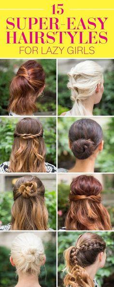 15 Super-Easy Hairstyle Tutorials!! - #hairstyle #hairtutorials #hairdo #lazyhair