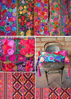 Mexicanos Craving more color! Luv all this Mexican embroidery. Mexico Textiles Elba Valverde via Craving more color! Luv all this Mexican embroidery. Mexico Textiles Elba Valverde via Mexican Colors, Mexican Style, Fiesta Colors, Arte Fashion, Mexican Textiles, Mexican Fabric, Mexican Embroidery, Deco Boheme, Mexican Designs