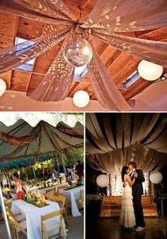 Image result for ceiling drapes, disco ball