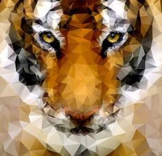 How to create geometric low poly art the easy way - Low poly tiger illustration