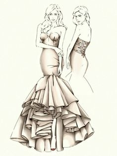 Love this fasion design sketch!!!! When art comes alive.