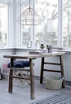 50 Awesome Scandinavian Home Office Designs : 50 Awesome Scandinavian Home Office Designs With Wooden Desk And Chair And Light Bulb And Big Window And Rug And Wooden Floor Home Office Inspiration, Workspace Inspiration, Interior Inspiration, Interior Ideas, Interior Styling, Home Office Design, Office Decor, House Design, Office Designs