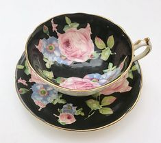 Black Hand Painted Paragon Tea Cup & Saucer
