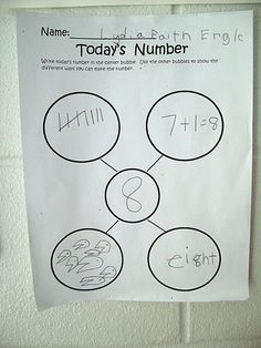 Representing numbers- like this idea for math wall while students are sitting down on the carpet