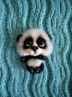 felt brooch  panda handmade brooch animal brooch by FeltPositive