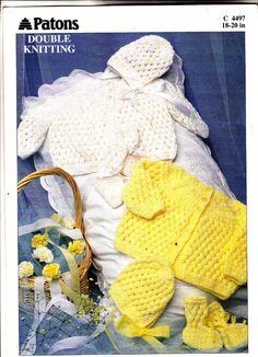 4497 Patons Knitting Pattern Baby Jacket, Bonnet