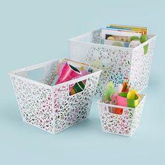 Kids Storage: Kids White Floral Cutout Storage Baskets in Storage Collections
