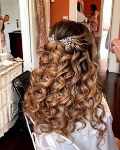 Half up goals by # waterfall Braids wedding Half Up Braid Tutorial Long Hair Wedding Styles, Wedding Hairstyles For Long Hair, Wedding Hair And Makeup, Hairstyles For Weddings Bridesmaid, Braided Wedding Hair, Country Wedding Hairstyles, Bride Hairstyles For Long Hair, Half Up Wedding Hair, Wedding Curls