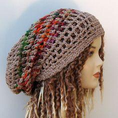 New to PurpleSageDesignz on Etsy: Hemp cotton recycled sari silk dread tam slouchy beanie crochet hat (25.00 USD)